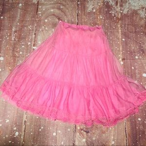 Free People Pink Lace Sheer Mini Skirt